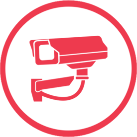Red cctv icon in a red circle