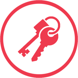Red keys icon in a red circle