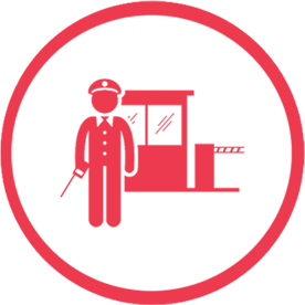 Red security guard icon in a red circle