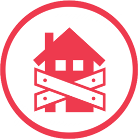 Red closed house icon in a red circle